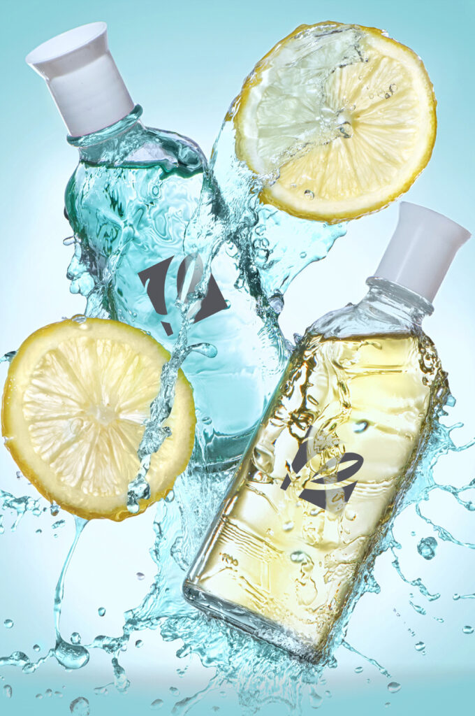 Build Your Brand image for the build your brand section showing 2 bottles in artistic water splash