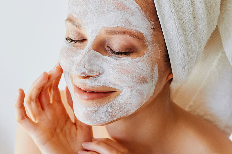 Spas and Salons Customer Type for Private Label Skincare Image featuring a model with a skincare mask on her face