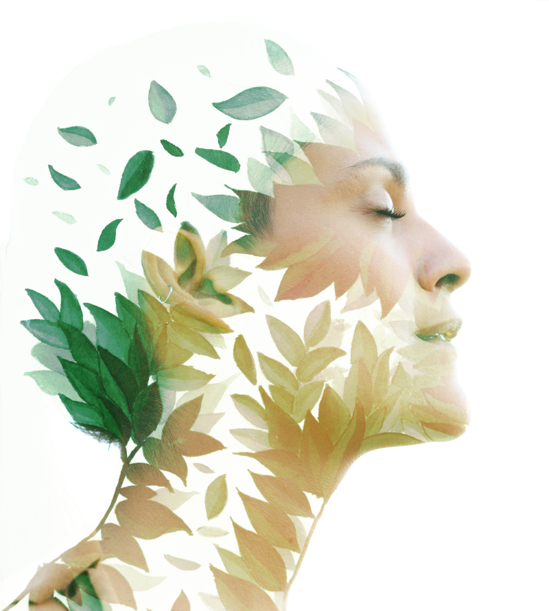 Sustainability image features an artistic model blending into leaves