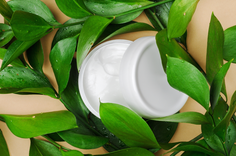 Private Label Skincare image for Sourcing, features a jar of skincare in leaves
