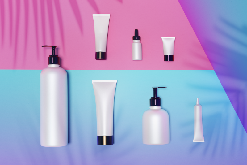 Keep your thumb on the pulse of the industry image features an selection of private label skincare blank packaging bottles and containers against a colorful background.
